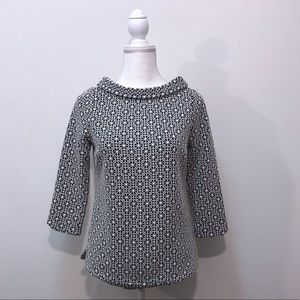 Boden White Black Floral Peter Pan Cowl Neck Top 4